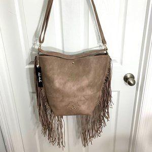 PINK HALEY Taupe Fringe Large Handbag